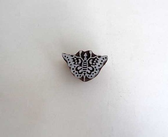 Butterfly stamp  Indian printing block small by IndianCraftsBazaar