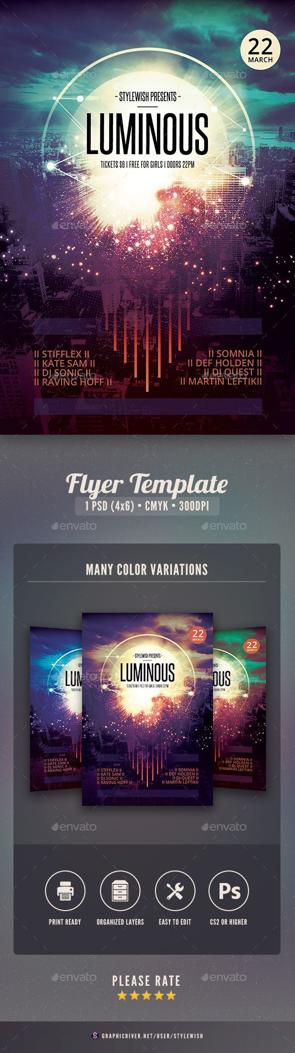 1 color poster design - Luminous Flyer Music Eventsflyer Templatebold Colorsposter Designsmusic