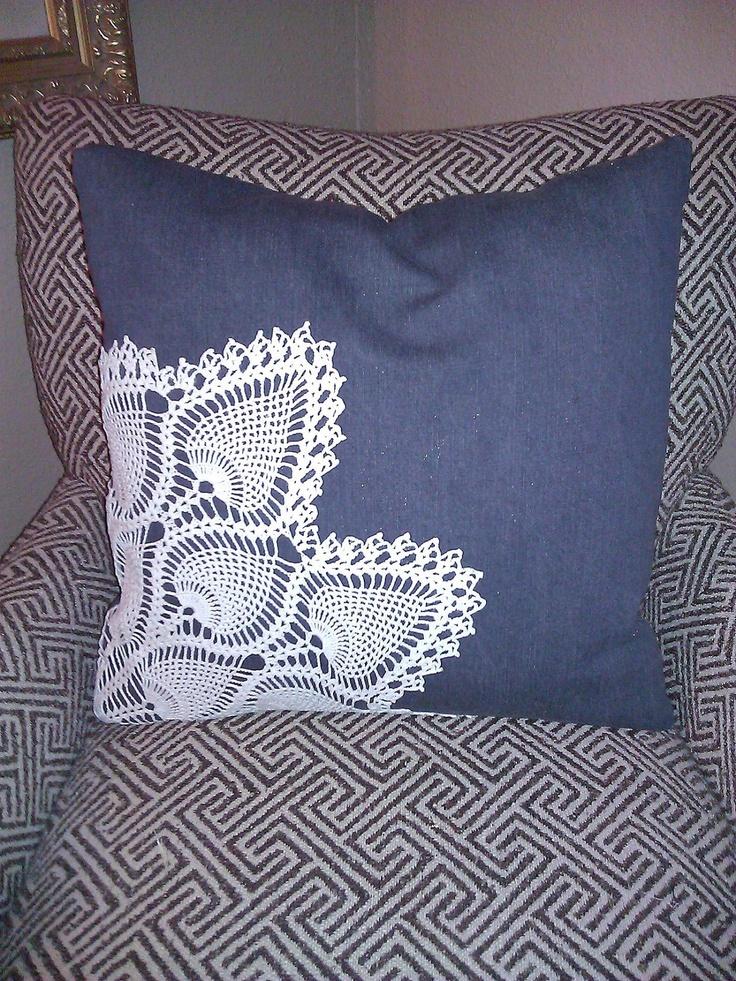 """Denim and Doily 20"""" Pillow Cover. $39.00, via Etsy."""