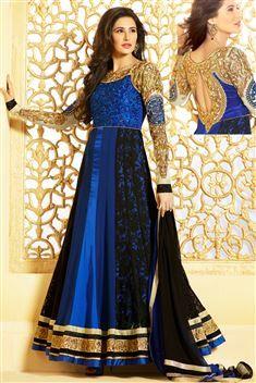 Nargish Fakari Georgette Blue,Black Suit