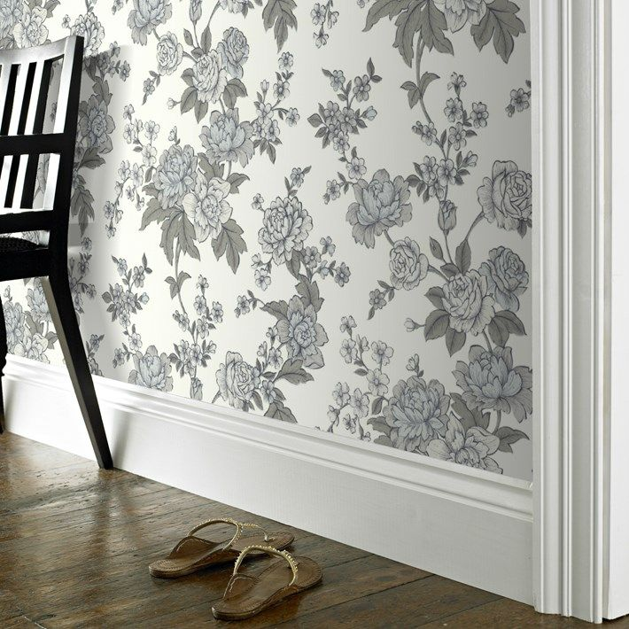 Kensington Floral Wallpaper - White Flower Wall Coverings by Graham  Brown