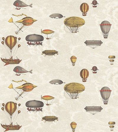 Macchine Volanti (97/1001) - Cole & Son Wallpapers - Wondrous flying machines and hot air balloons, in red and yellow on a cloudy neutral sky. Sold as a set of 2 wide width rolls, giving a total width of 137cm. Paste the wall. Pattern repeat 76cm. Please request sample for true colour match.