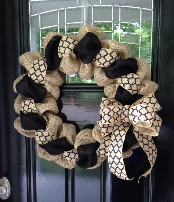 Black and Natural Moroccan Burlap Wreath 22 inch for front door or accent - outdoor or indoor
