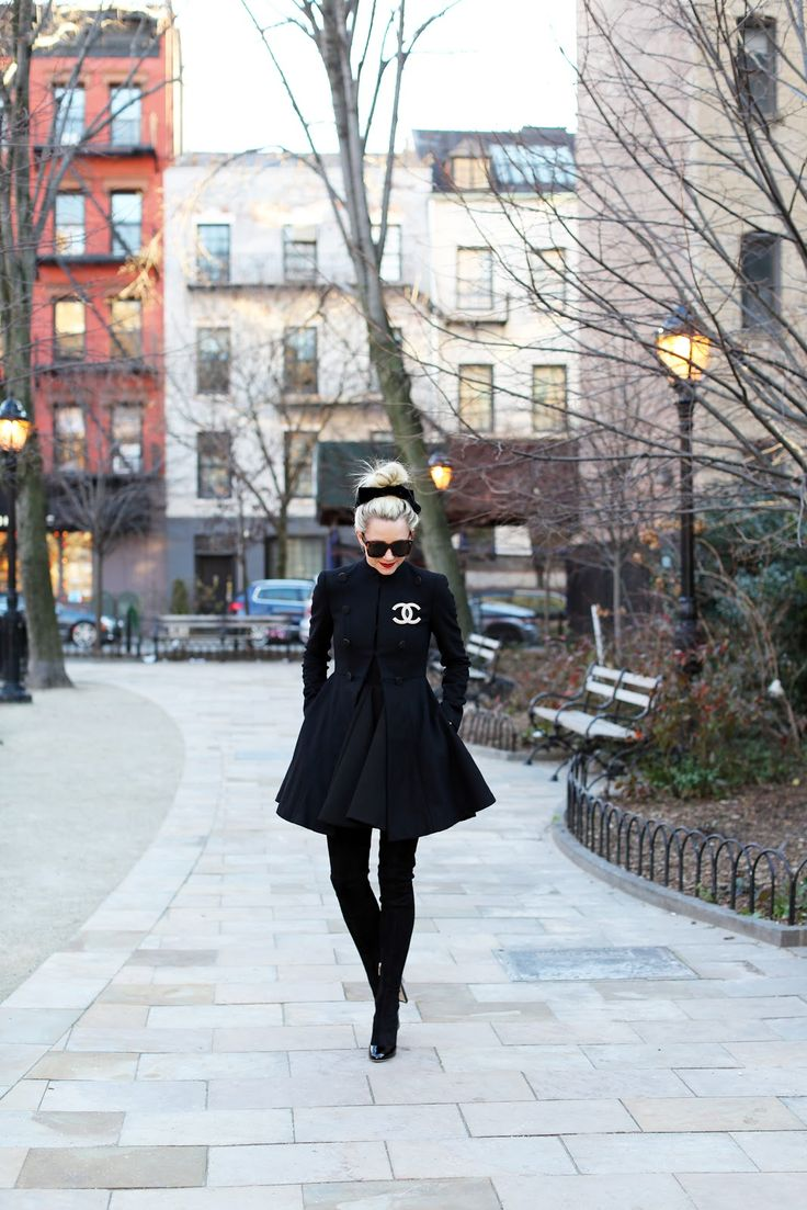 Alice + Olivia coat w/ Chanel brooch, Dolce & Gabbana thigh high boots #StreetStyle