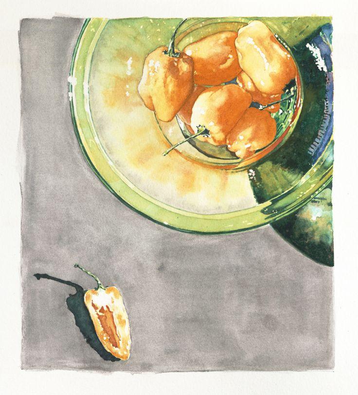 "ⓒDenise Hilton Campbell Illustration, ""Hot Peppers"".  Watercolor, habenero peppers, peppers, bowl, still life, orange, green, food, vegetables, green bowl, shadow, www.salzmanart.com representative"