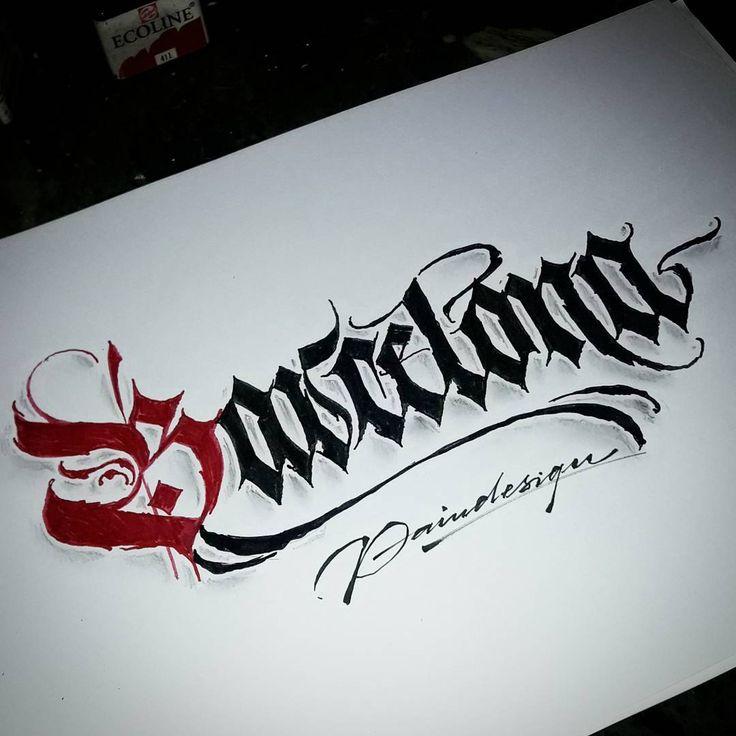 'Barcelona' stay strong #calligraphy #calligraphymasters #calligraffiti #handlettering #handwriting #handstyle #freehand #lefthand #lefty #gothic #custom #fraktur #lettering #effect #paindesignart @handmadefont #tyxca #typematters #typism #typegang #goodtype #artoftype #thedailytype #designspiration #barcelona