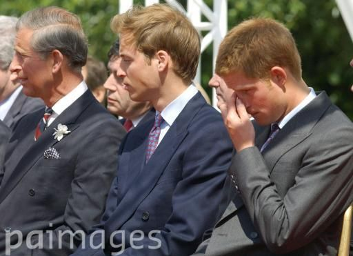Princes Charles, William and Harry at the Princess Diana Memorial Fountain July 6, 2004.