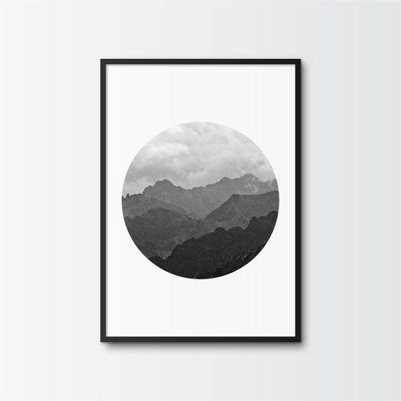 Black and White Photography, Printable Art, Mountain Range, Ombre Effect, Circle Print, Minimalist Art, Printable Wall Decor, Shades of Gray