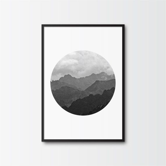 Black and White Photography, Printable Art, Mountain Range, Ombre Effect, Circle Print, Minimalist Art, Printable Wall Decor, Shades of Grey