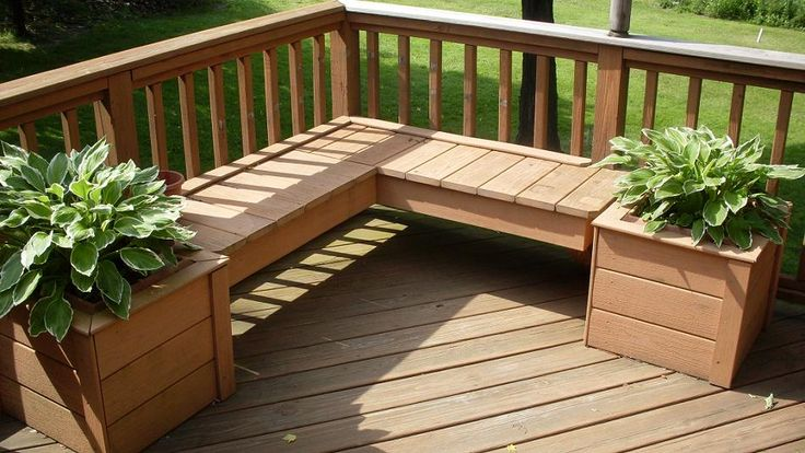 deck with built in seating and planters
