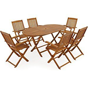 Wooden Garden Dining Table and Chairs Furniture Set Boston - 6 Seater Acacia Wood Outdoor Patio