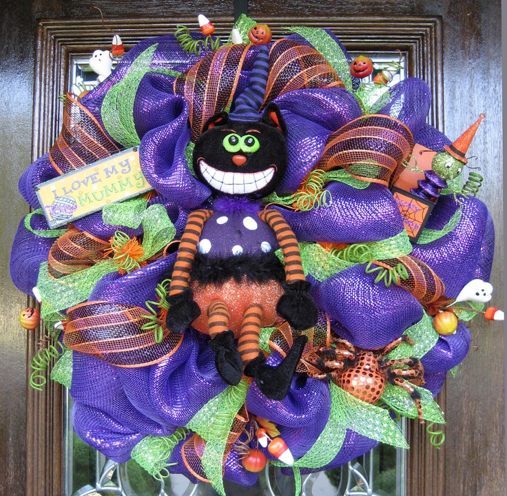 Deco Mesh ANIMATED CAT HALLOWEEN Wreath