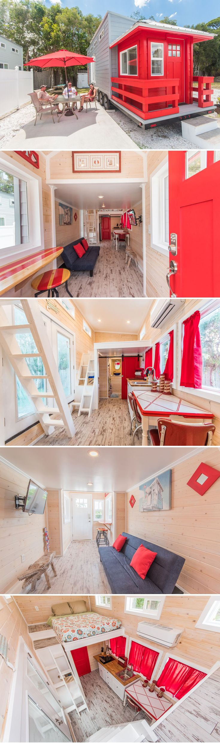 Modeled after Siesta Key Beach's lifeguard stands is the Red Lifeguard Stand tiny house, available for nightly rental at Tiny Siesta in Sarasota, Florida.