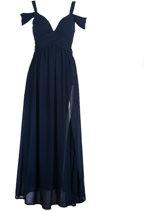Choies Cold Shoulder Wrap Maxi Prom Dress in Navy on shopstyle.com
