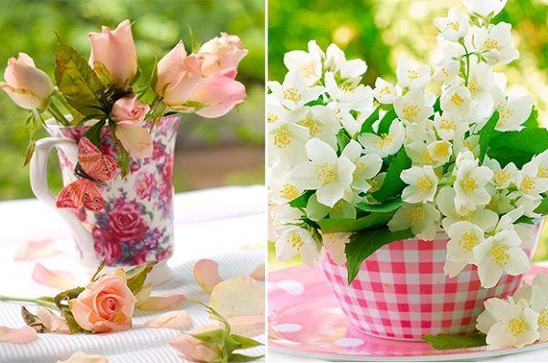 flores na caneca:
