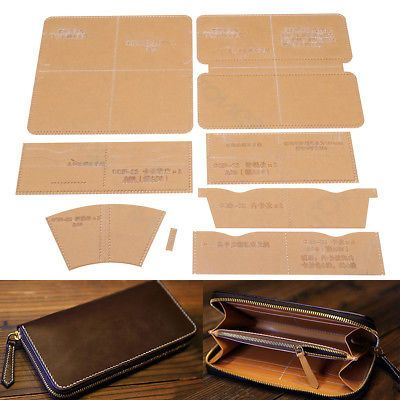 DIY Leather Craft Acrylic Clutch Bag Handbag Pattern Stencil Template Tool Set