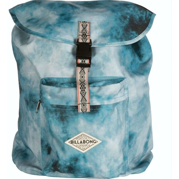 Billabong Women's Sister Solstice Backpack (£29) ❤ liked on Polyvore featuring bags, backpacks, accessories, tie dye, zipper bag, billabong backpack, blue tie dye backpack, buckle backpack and travel backpack