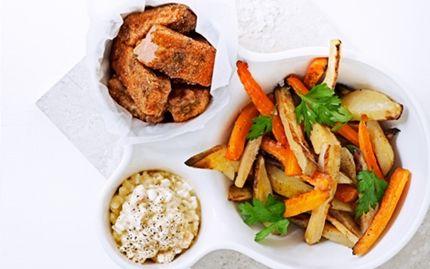 Fish and chips med rodfrugter og hytteostremoulade