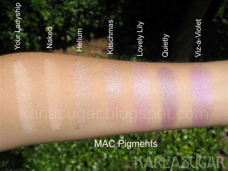 MAC, pigment, swatches, Your Ladyship, Naked, Helium ...