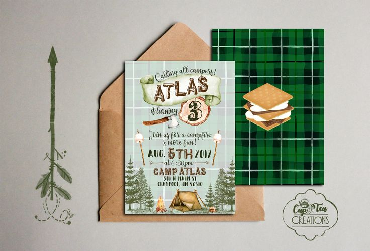 Camp Birthday Invitation, Camping Invitation, Camping Birthday Invitation, Plaid Birthday Invitation by cupofteacreation on Etsy https://www.etsy.com/listing/531613808/camp-birthday-invitation-camping
