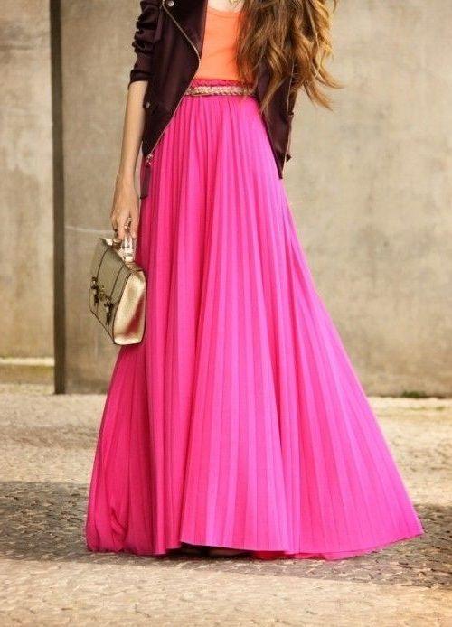 7524a6642e CLICK on the photo to shop this beautiful pink pleated skirt  ) New fuchsia  pleated high waist long women skirt maxi spring summer elastic waist autumn  fall ...