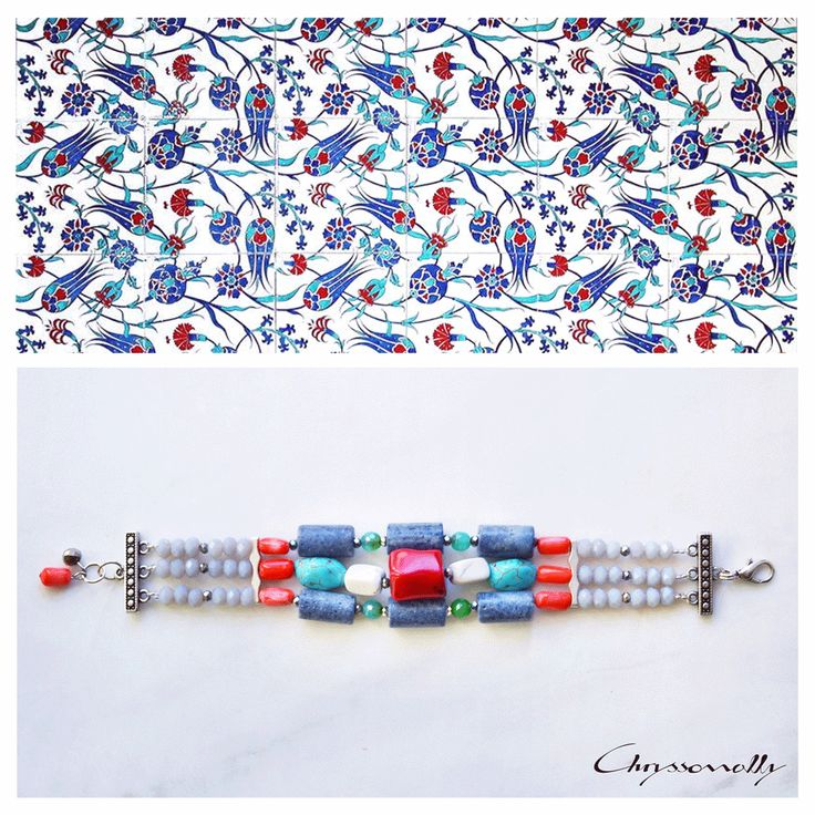 JEWELRY | Chryssomally || Art & Fashion Designer - Ethnic inspired multistrand bracelet with red, blue, orange, green, turquoise, white gemstones and grey and silver crystals