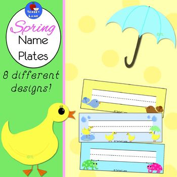 Spring student name plates.  For use as student desks labels, sight word labels, bin labels, cubbie labels, on bulletin boards, and more!