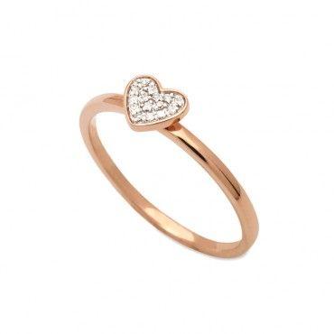 Διακριτικό δαχτυλίδι ροζ χρυσό Κ18 με μία μικρή καρδιά από διαμάντια μέσα σε λευκόχρυσο επίπεδο | Δαχτυλίδια με διαμάντια ΤΣΑΛΔΑΡΗΣ στο Χαλάνδρι #valentinesday #iloveyou #valentinesdayideas #myvalentine #hearts #bemine