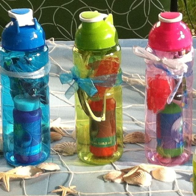 Ocean theme party favors under $3... Dollar store water bottle, bubbles (3 for $1), sunglasses, & Swedish fish divided into baggies; this is exactly the idea I had! :)