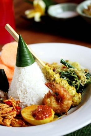Balinese Nasi Campur- my favorite Indonesian comfort food.Just got back this morning and I miss it already.