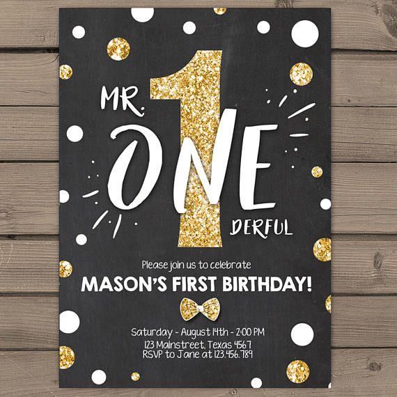 First Birthday Invitation boy 1st birthday Mr Onederful