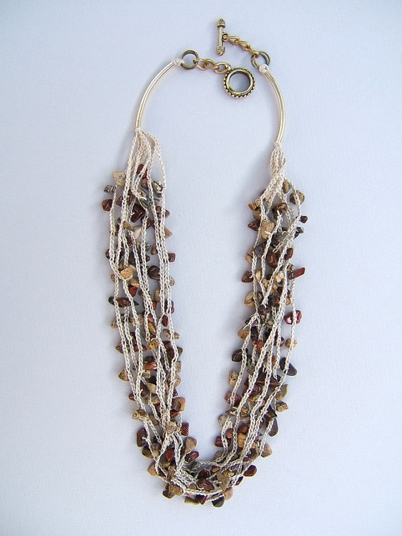 Necklace. Jasper necklace. Jewelry. Hand knitted by FerCreations, $32.00