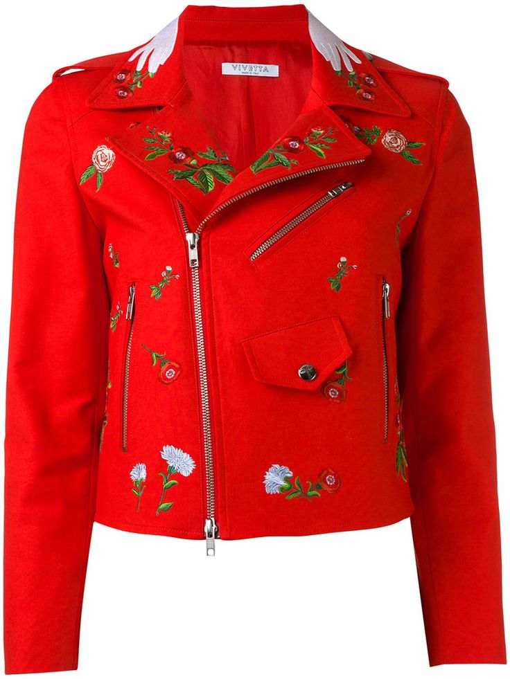 ¡Cómpralo ya!. Vivetta - Embroidered Biker Jacket - Women - Cotton/Spandex/Elastane/Acetate/Cupro - 42. Multicoloured cotton-blend embroidered biker jacket from Vivetta. Size: 42. Color: Red. Gender: Female. Material: Cotton/Spandex/Elastane/Acetate/Cupro. , chaquetadecuero, polipiel, biker, ante, antelina, chupa, decuero, leather, suede, suedette, fauxleather, chaquetadecuero, lederjacke, chaquetadecuero, vesteencuir, giaccaincuio, piel. Chaqueta de cuero  de mujer color rojo de VIVETTA.