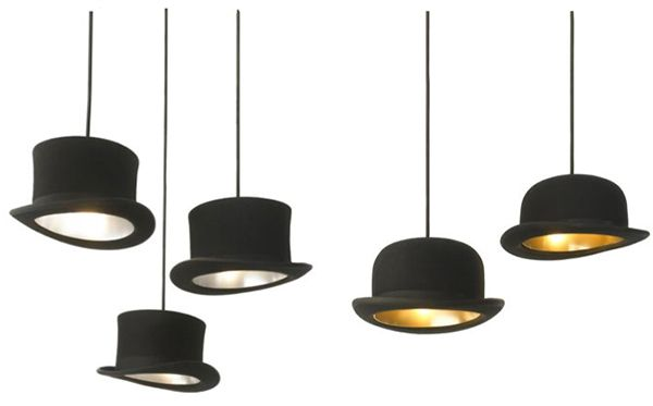 Jake Phipps Hats Pendant Lights  Too bad I would try to put these on my head and burn my scalp...still awesome!