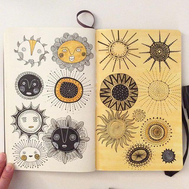 Day 29, Sunshine #CBDrawADay #creativebug #moleskineart #sketchbook #sunshine…