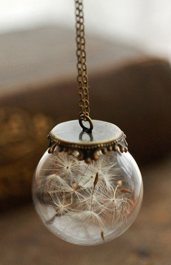 Dandelion wish necklace real dandelion seeds by RubyRobinBoutique