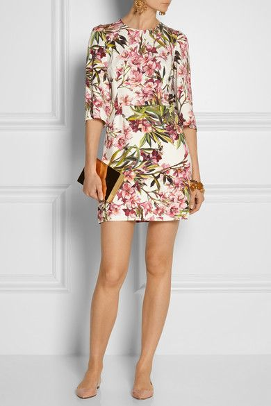 DOLCE & GABBANA Floral-print twill mini dress