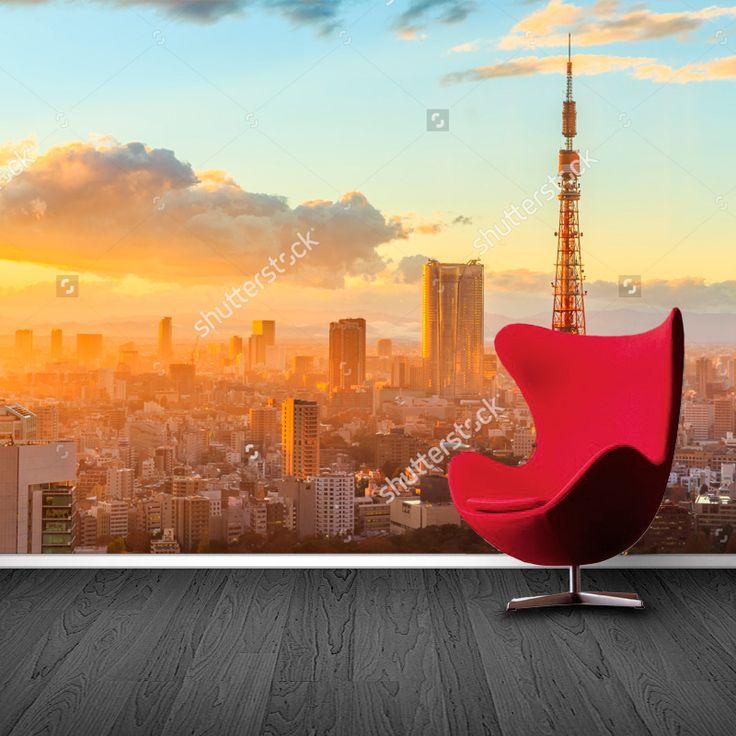 Fotobehang Tokyo sunrise | Maak het jezelf eenvoudig en bestel fotobehang voorzien van een lijmlaag bij YouPri om zo gemakkelijk jouw woonruimte een nieuwe stijl te geven. Voor het behangen heb je alleen water nodig!   #behang #fotobehang #print #opdruk #afbeelding #diy #behangen #zonsopgang #japan #japans #tokyo #tokio #wereldstad #stad #tokyotower #modern #azie #verreoosten #oosters