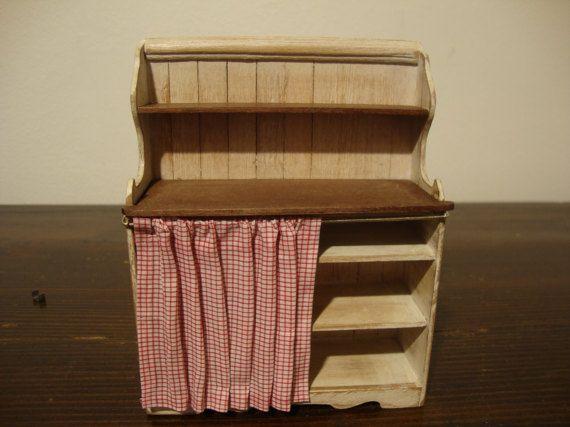 Poppenhuis miniatuur land shabby chique wit. met planken in