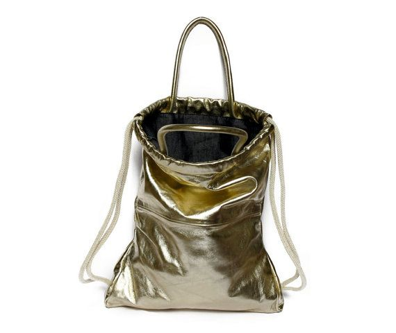 Hey, I found this really awesome Etsy listing at https://www.etsy.com/listing/208120495/gold-leather-backpack-tote-multi-leather