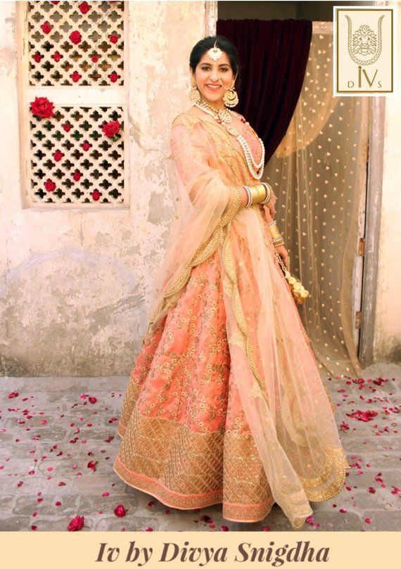 1c721c568 Peach embroidered wedding lehenga, indian bridal lengha, traditional  wedding outfit, designer weddin