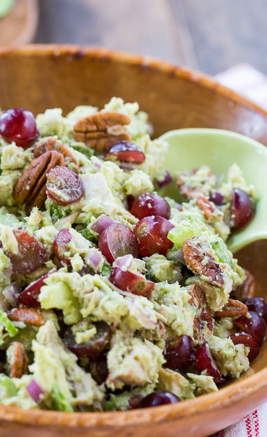 Avocado Sonoma Chicken Salad with red grapes and pecans. A ripe avocado forms most of the creaminess for this healthy chicken salad.