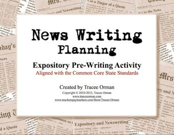 News Writing Story Planning Handout Pre-Interview - aligned with the Common Core. Goes very well with my Expository Writing presentation! $