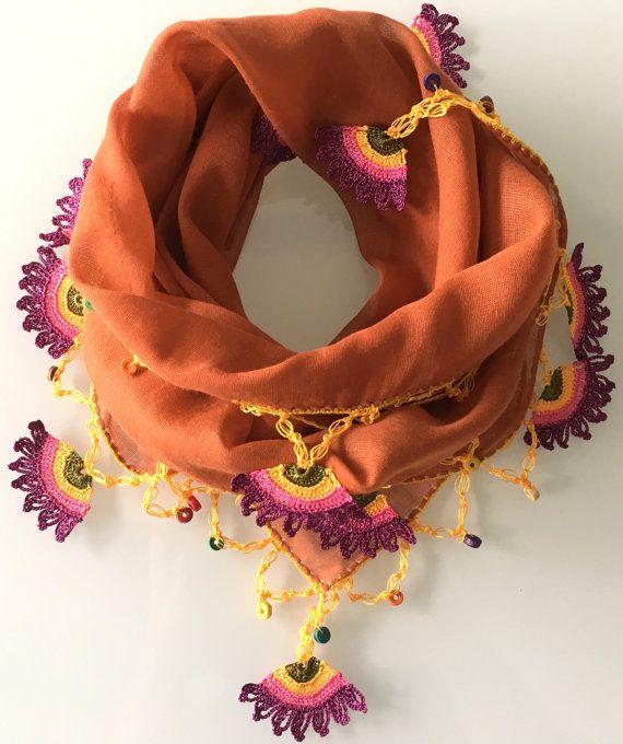 Orange crocheted elegant stylish scarf