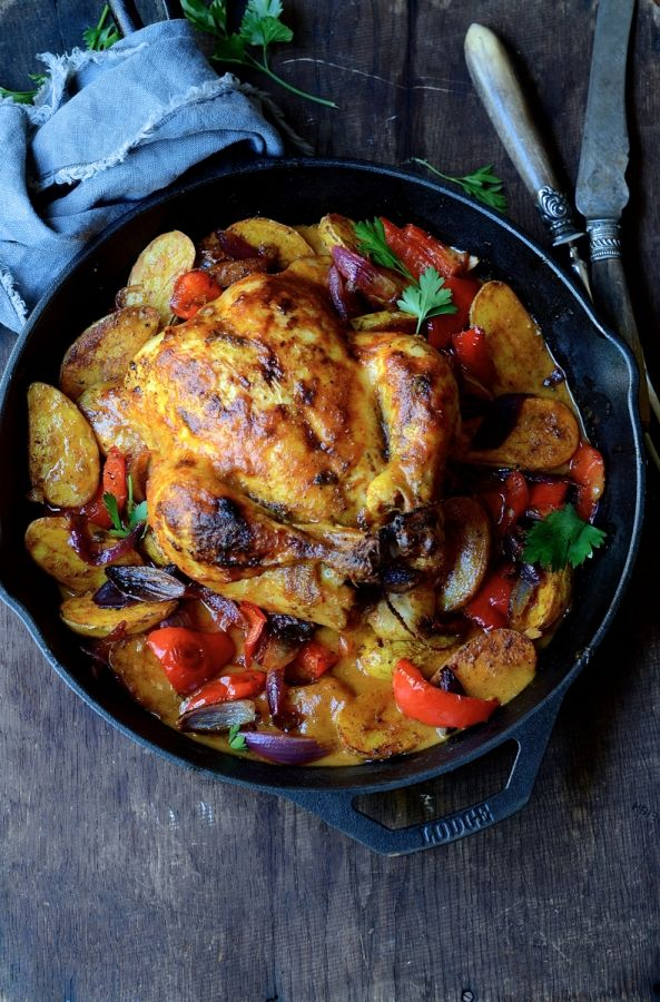 oven-roasted Massaman chicken curry with spicy roast potatoes l (A fusion of Thai and Indonesian ingredients. If no local source for the Massaman curry paste, there are several reviewed at Amazon.)