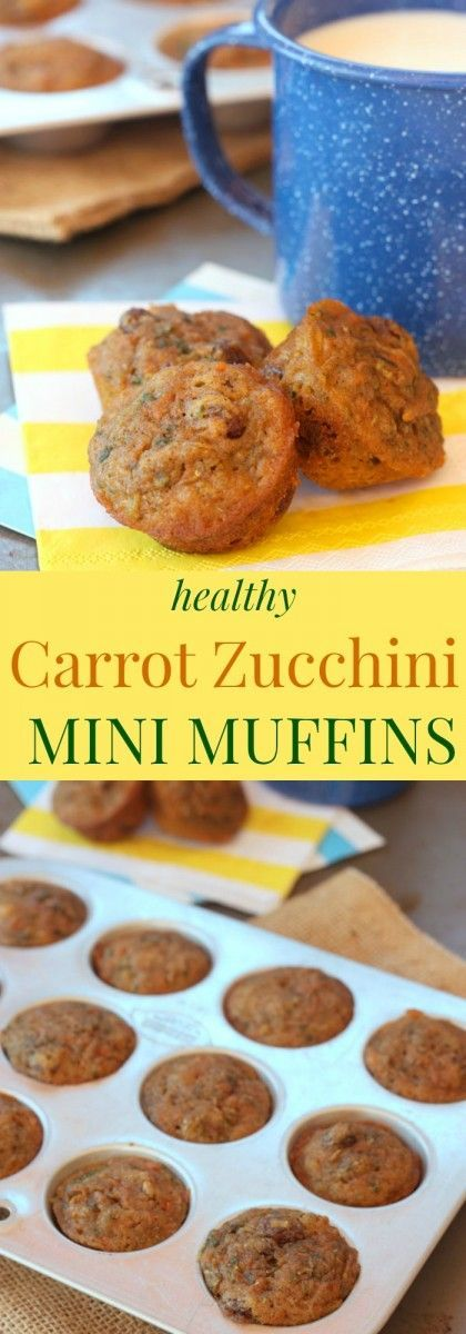 Healthy Carrot Zucchini Mini Muffins - Sweet, moist, and bite-sized little muffins filled with whole-grains and vegetables, but not a lot of added sugar. Perfect for breakfast or a healthy snack. One of my most popular recipes!