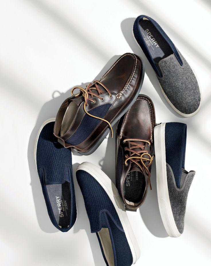 J.Crew men's Sperry® for J.Crew chukka boots, Sperry® for J.Crew slip-on sneakers and Sperry® for J.Crew striped slip-on sneakers.