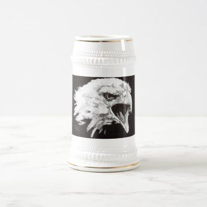 """""""Screaming eagle"""" Beer Stein - home gifts ideas decor special unique custom individual customized individualized"""
