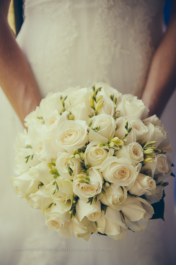 Wedding Flower Bouquet White Rose Roses www.marcelvanderhorstphotographer.com