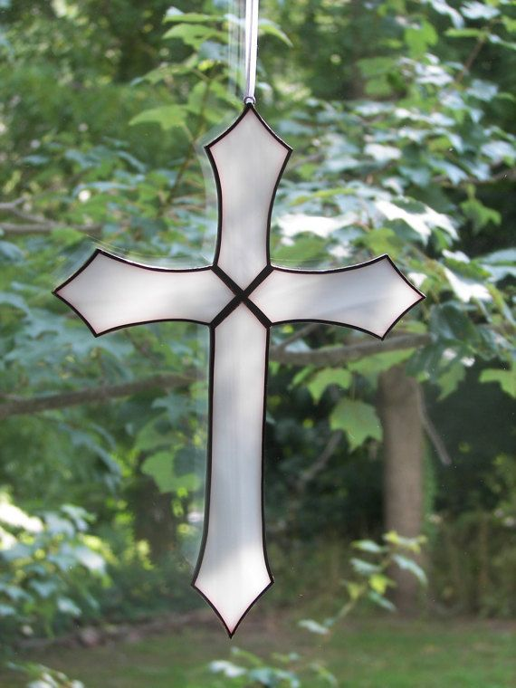 Stained Glass Cross  White Glass Cross by ChapmanStainedGlass